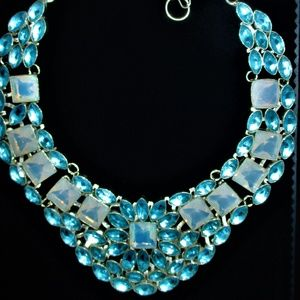 STUNNING BLUE TOPAZ AND OPALITE STATEMENT NECKLACE